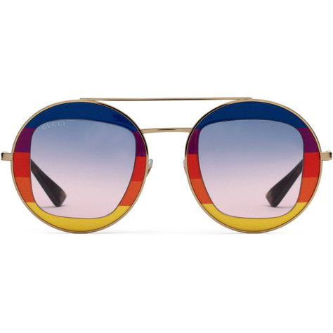 797bd883dfa Gucci Round-Frame Metal Sunglasses (9.205 ARS) ❤ liked on Polyvore  featuring accessories