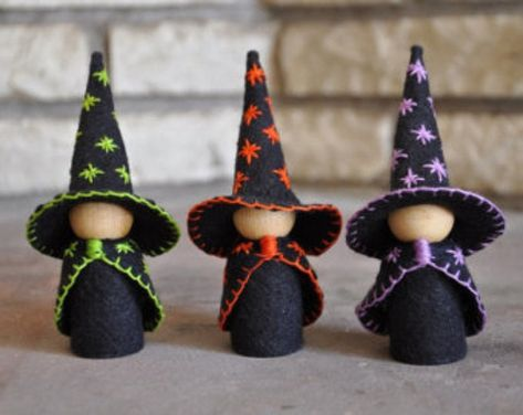 Three Little Wooden and Wool Felt Witches – A Waldorf and Montessori Inspired Halloween Toy - Wooden Peg Doll - Halloween Decor by HoneyBeeToyAndCraft on Etsy