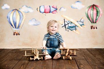 Naklejka Na Sciane Samolot Balon Sterowiec Chmury Baby Mobile High Chair Decor