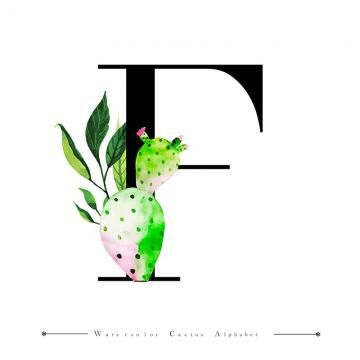 Alphabet Letter F With Watercolor Cactus And Leaves Background Watercolor Color Floral Png And Vector With Transparent Background For Free Download Lettering Alphabet Watercolor Cactus Leaf Background