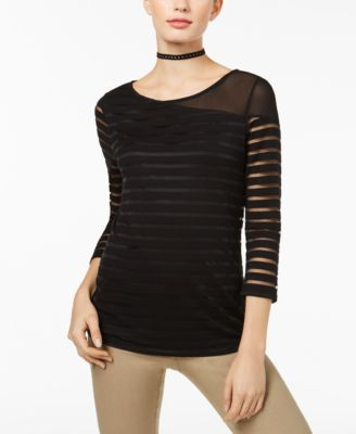 INC International Concepts Womens Illusion Striped Top