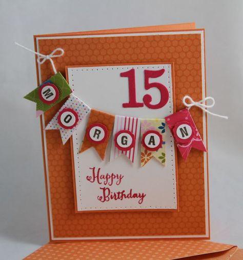 Teen Birthday Card- Stampin' Up banner card by Miechelle Weber www.stampinu.wordpress.com