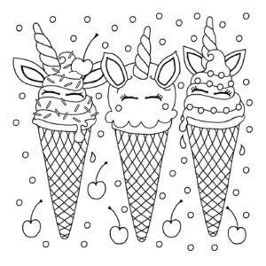 Image Result For Cute Unicorn Ice Cream Colouring Pages With