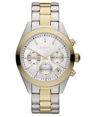 DKNY Watch, Women's Chronograph Two Tone Stainless Steel Bracelet - Women's Watches - Jewelry & Watches - Macy's
