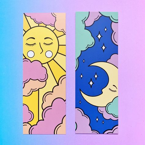 Sun and Moon Bookmark. Gifts for Readers. Witchcraft and Wizardry. Simple Canvas Paintings, Easy Canvas Art, Small Canvas Art, Mini Canvas Art, Cute Paintings, Diy Canvas, Easy Art, Disney Canvas Art, Colorful Paintings