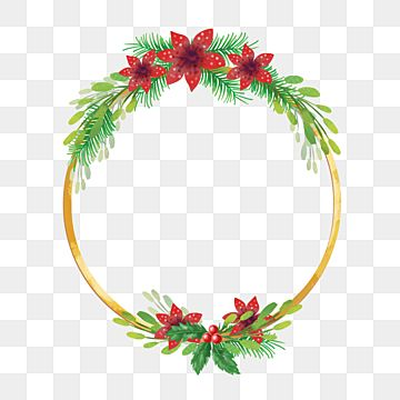 Christmas Wreath Leaves And Red Flower With Golden Line Christmas Merry Christmas Wreath Png Transparent Clipart Image And Psd File For Free Download Red Christmas Background Christmas Wreaths Red Flowers