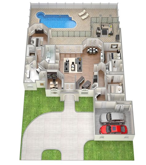 ISABELLA Perfect 3D Floor Plans 4 bedroom house plan Sawyer Sound - construction de maison en 3d