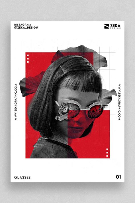 Glasses Poster Design Inspiration by Zeka Design Minimalist Graphic Design Poster Ideas