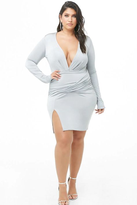 Plus Size Plunging Bodycon Dress | Forever 21