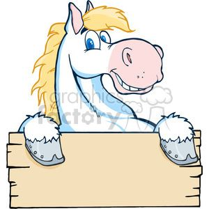 Cartoon White Horse Holding A Sign Happy Cartoon Horse Cartoon White Horse