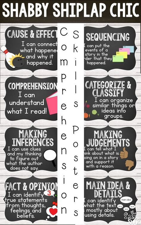 """Are you """"Fixer Upper""""-ing your classroom? Love that rustic look? 24 shiplap chic reference posters include a student-friendly description of important comprehension skills with helpful clip art!"""
