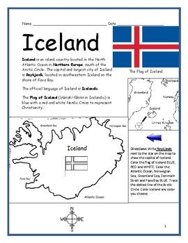Iceland Printable Geography Worksheet With Map And Flag With