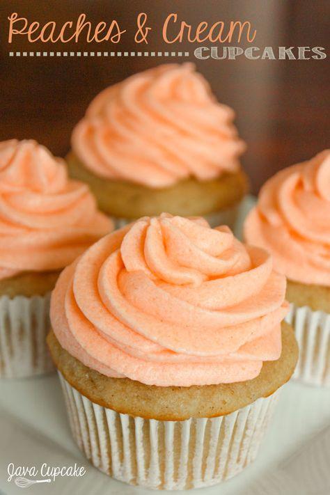 Peaches n' Cream Cupcakes   #recipe #peach #peachescream #cream #cupcakes #cakes #sweet #treat