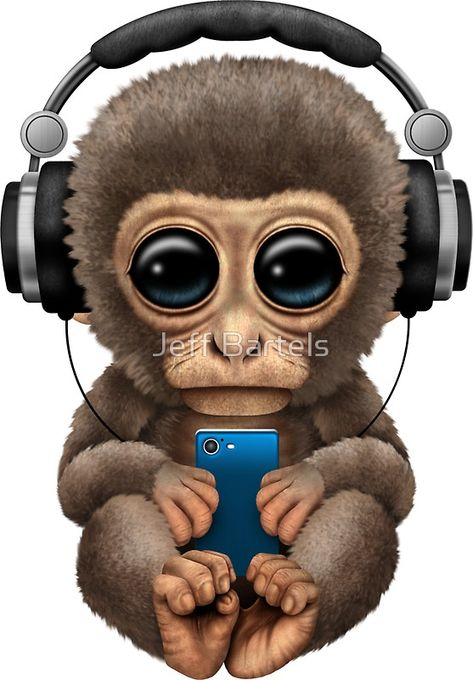 """Cute Baby Monkey With Cell Phone Wearing Headphones Blue"" Stickers by jeff bartels 