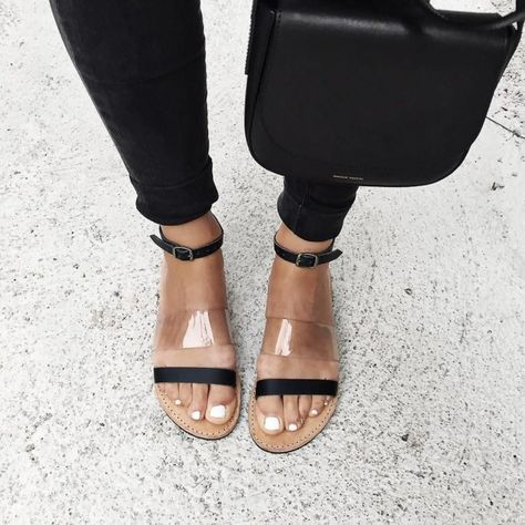 1168d6404dbe Black Clear Beach Sandals Ankle Strap Open Toe Summer Flat Sandals for  School