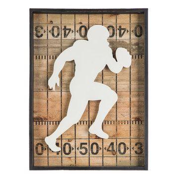 Football Player Wood Wall Decor Football Room Decor Wood Wall