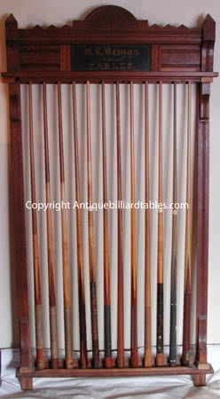 Antique Circa 1880 S 1890 S O L Briggs Company Billiard Cue Rack This Rack Is Made Of Carved Oak And Displays 12 Billiar Billiards Pool Cue Rack Antiques