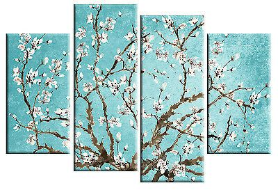 Duck Egg Blue Blossom Tree Floral Canvas Picture Split Multi 4 Panel Rdy To Hang Multi Canvas Painting Canvas Pictures Cherry Blossom Wall Art