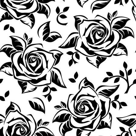 Seamless pattern with black silhouettes of roses.  illustration.