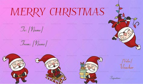 Download Christmas Gift Voucher Template (Santa, #985T) MS WORD in Microsoft Word (DOC). Christmas Gift Voucher Template (Santa, #985T) MS WORD is designed by expert designers and is completely customizable. Download, Edit  Print.