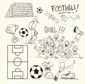 Vector Illustration Of Football Theme In Doodle Style With Images Soccer Drawing Doodle Illustration Doodles