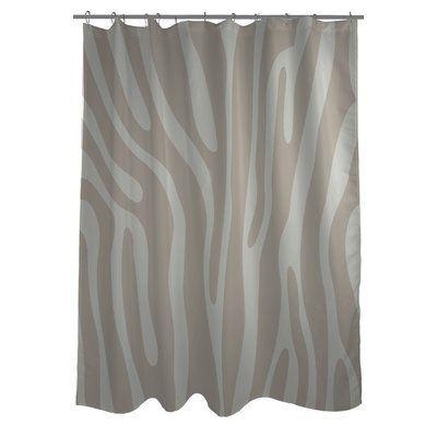 One Bella Casa Zebra Print Single Shower Curtain Color Oatmeal
