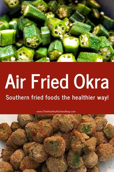 Air Fried Okra Recipe from The Air Fryer Bible Cookbook, The Healthy Kitchen Shop - We wrote the book on air fryer cooking! It's called The Air Fryer Bible, and this recipe is just - Air Frier Recipes, Air Fryer Oven Recipes, Air Fryer Dinner Recipes, Air Fryer Recipes Indian, Air Fried Okra Recipe, Air Fried Food, Fried Pickles Recipe, Air Fryer Healthy, Cooking Recipes