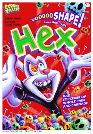 Hex. Pictures of the breakfast-themed horror trading cards from artist Joe Simko.