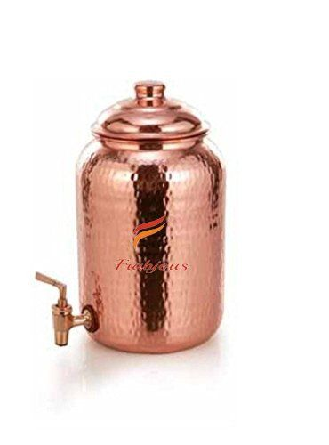 Pure Copper Water Storage Pot Tank With Tap 8 Liter Copper And Marble Copper Kitchen Copper Serveware