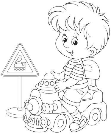 Boy On A Toy Train Toy Train Paw Drawing Coloring Pages