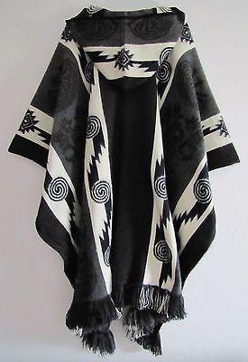 Details about Llama Poncho Hood Wool Mens Jacket Cape