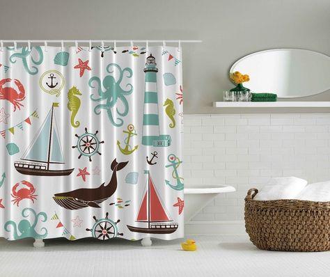 Sea Life Nautical Shower Curtain Nautical Shower Curtains Ocean