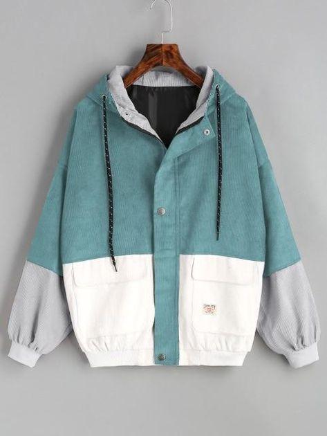 Tri-Color Corduroy Zip Up Jacket - Teal Grey White / XL
