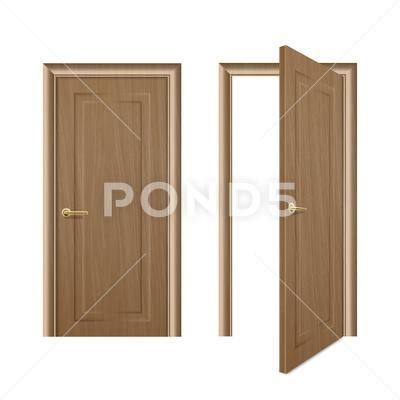 Vector Realistic Different Opened And Closed Brown Wooden Door Icon Set Closeup In 2020 Wooden Doors Logo Design Inspiration Vintage Wooden