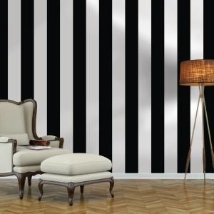 Black And White Stripe Repeel Removable Wallpaper Black And White Wallpaper Striped Wallpaper Striped Walls