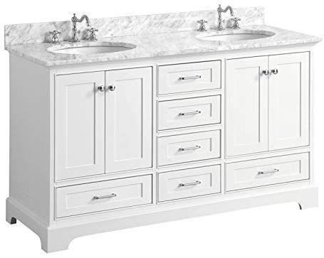 Harper 60 Inch Double Bathroom Vanity Carrara White Includes