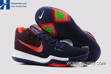 31acf81cfce1 Nike Kyrie 3 Dark Blue Red – White Blue PE Men s Basketball Shoes New  Release