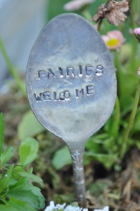 fairy garden welcome spoon