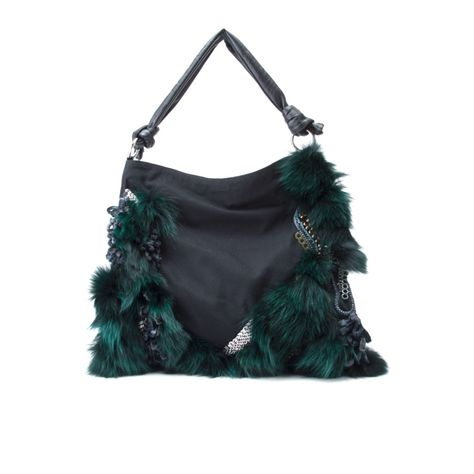 AURANTIUM   -Cotton and leather in 2 styles.  -Hand decorated with fox fur, metal and glass beads. Silver hardware.  -Magnetic fastening at front flap.  -Internal zip-fastening pocket.  -Fully lined.