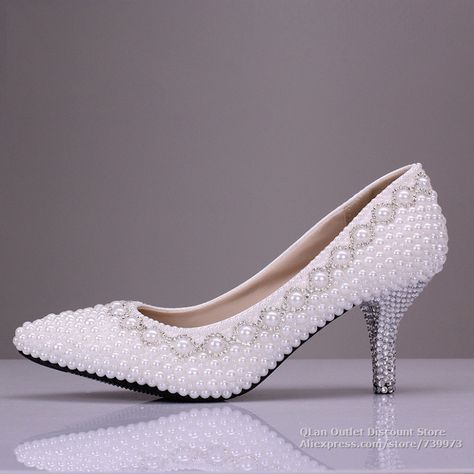 e5a2f431cea white wedding shoes with pearls wedding low heels comfortable party prom  shoes bridal bridesmaid  WeddingShoes  LowHeelComfortable