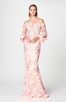 Marchesa Notte Pink Off Shoulder Embroidered Gown