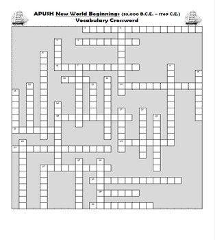 Apush New World Beginnings Vocabulary Review Crossword Puzzle Crossword Puzzle Ap Us History Apush