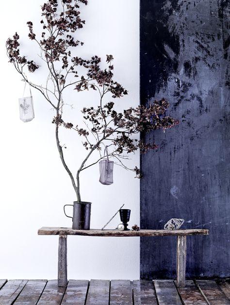 Composition Vegetale En Noir Et Blanc Deco Deco Bleue Et