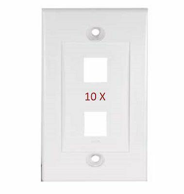 10pcs 2 Port White Wall Plate For Keystone Jack Cat5 Cat5e Cat6 Rj45 Phone Data Ebay Plates On Wall Wall Jack White Walls