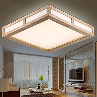 Electro Bp Modern Simple Wood Art Ceiling Lights Acrylic Led Flush Mount Light Max 18w With Led Lights Painte Ideias De Iluminacao Iluminacao Lustre De Madeira
