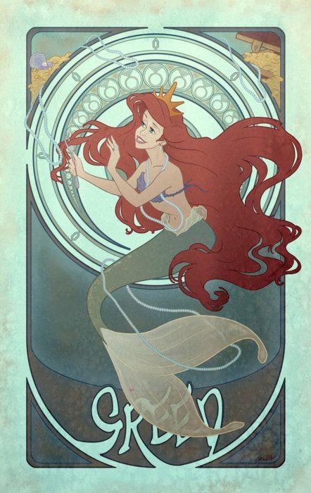 "Disney Princesses Seven Deadly Sins - Greed; Ariel from ""The Little Mermaid""; Nouveau-style fan art"