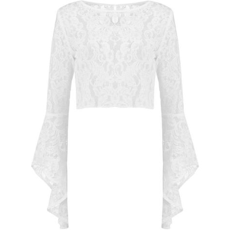 0ad1ddc3041db Boohoo Petite Bai Corded Bell Sleeve Lace Crop Top ( 9) ❤ liked on Polyvore
