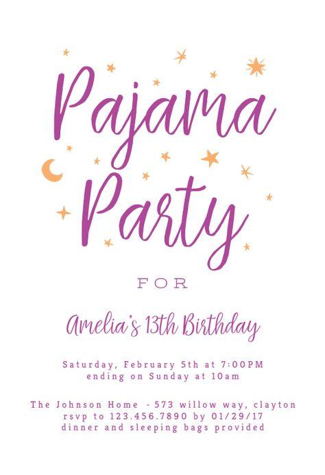 Pajama Party Sleepover Party Invitation Template Free