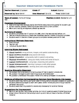 Teacher Observation Feedback Form   Physics   Teacher