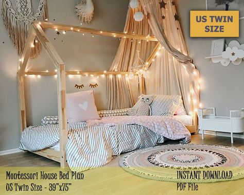 Montessori Toddler House Bed Frame, US Twin Size Kids Bed Plan, Easy and Affordable DIY Wooden Floor Bed for Kids Bedroom Toddler House Bed, House Beds For Kids, Kid Beds, Toddler Bedroom Ideas, Wooden Toddler Bed, Toddler Floor Bed, Diy Toddler Bed, Bedroom Decor For Kids, Floor Beds For Toddlers